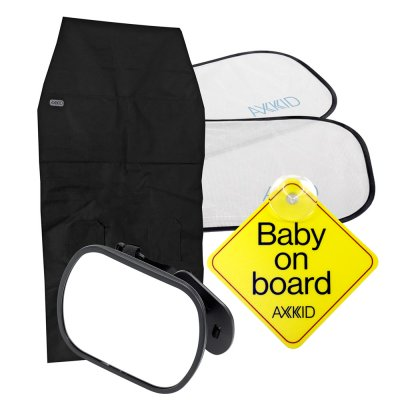 Kit de sécurité 4 accessoires (iroir, tapis de protection, pare soleil et bébé à bord) Axkid