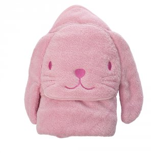 Sortie de bain bébé lapin rose