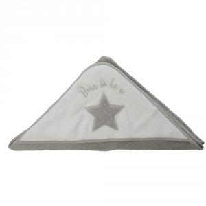 Sortie de bain bébé étoile grise
