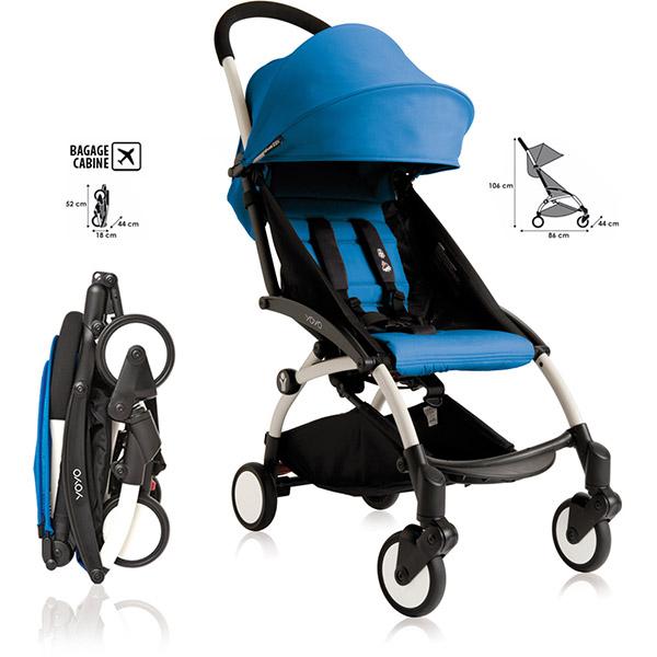 poussette 4 roues yoyo by babyzen 6 mois blanche bleue. Black Bedroom Furniture Sets. Home Design Ideas