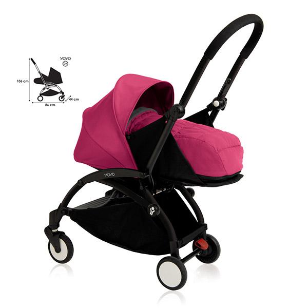 poussette 4 roues yoyo by babyzen compl te noire rose sur. Black Bedroom Furniture Sets. Home Design Ideas