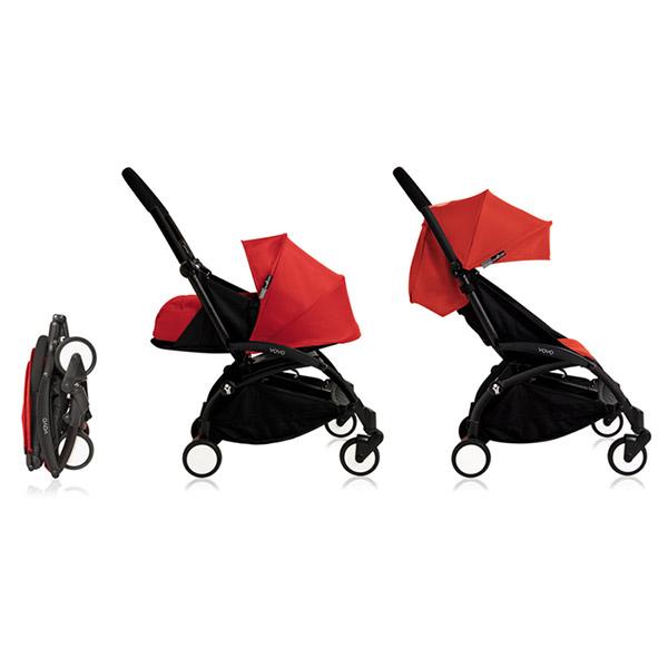 poussette 4 roues yoyo by babyzen compl te noire rouge. Black Bedroom Furniture Sets. Home Design Ideas