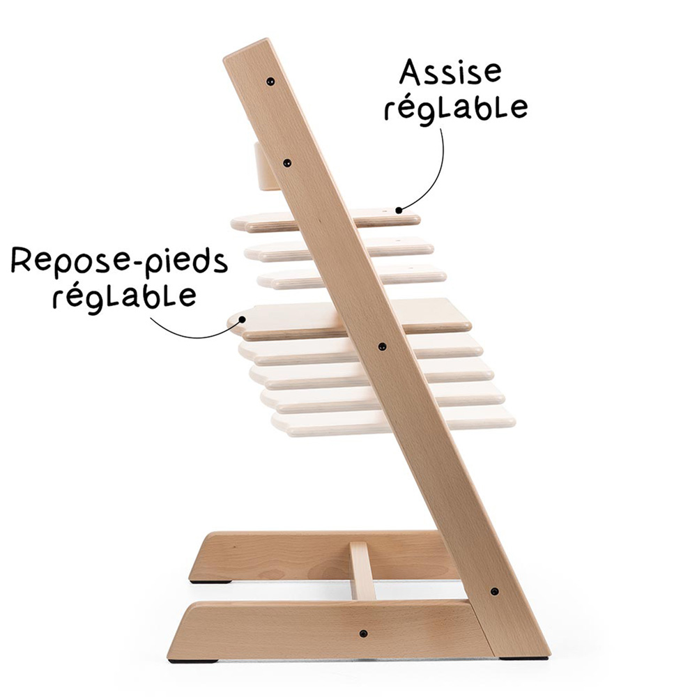 chaise haute b b volutive tripp trapp blanchi de stokke en vente chez cdm. Black Bedroom Furniture Sets. Home Design Ideas