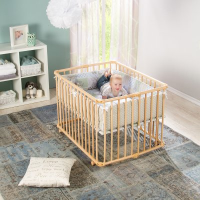 Parc bébé lucilee + pliant petit modèle wenge fond pois Geuther