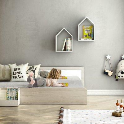 Lit junior 70 x 140 cm blanc sans pieds avec dossier et miroir Ros arco iris