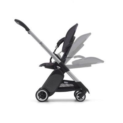 Poussette 4 roues ant alu avec style set et capote gris chiné Bugaboo