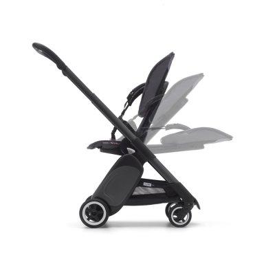 Poussette 4 roues ant noir avec style set gris chiné et capote rose chiné Bugaboo