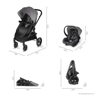 Pack poussette trio onida flex comfy grey Cbx