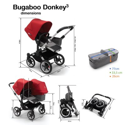Poussette double donkey 3 complète version duo alu gris chiné et rouge Bugaboo
